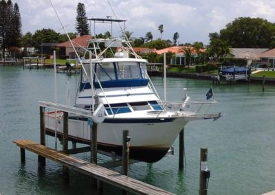 Boat Lift and Narrow Dock Installed