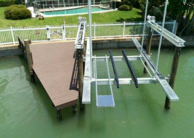 Boat Lift installation on a small dock