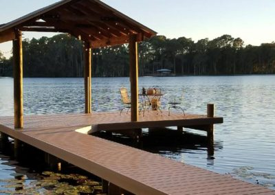 Dock with boathouse on a lake