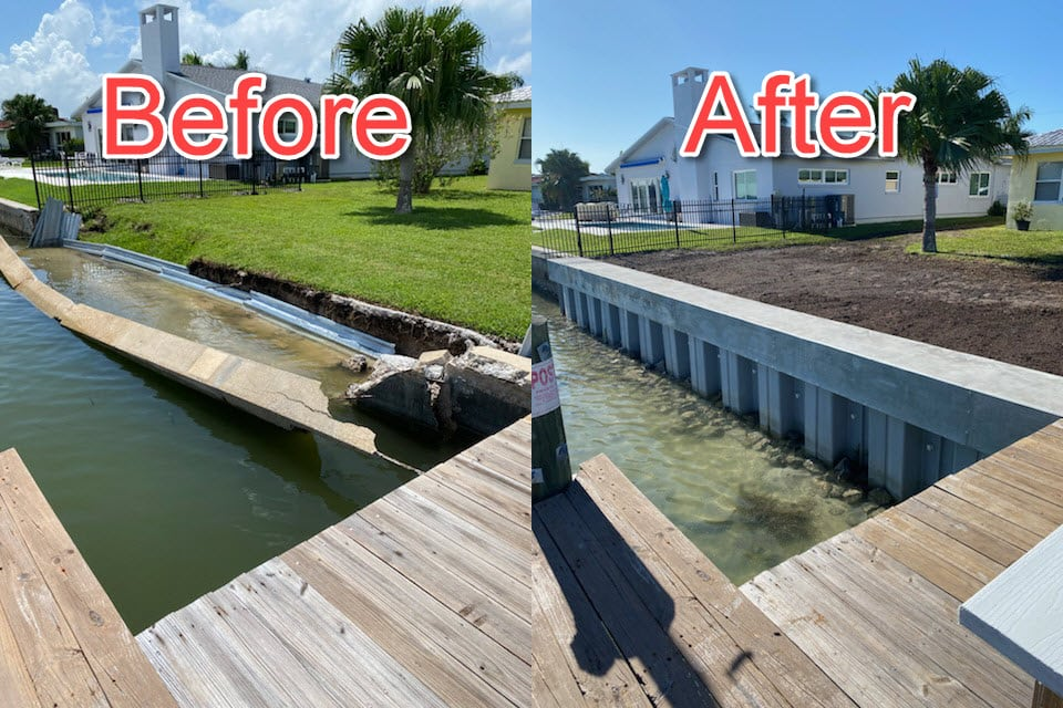 Seawall Failure Before and After